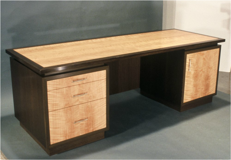 Desk: wenge and cherry.