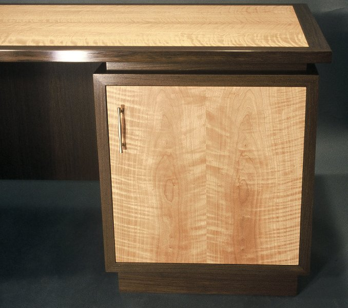 Desk; door: wenge and cherry.