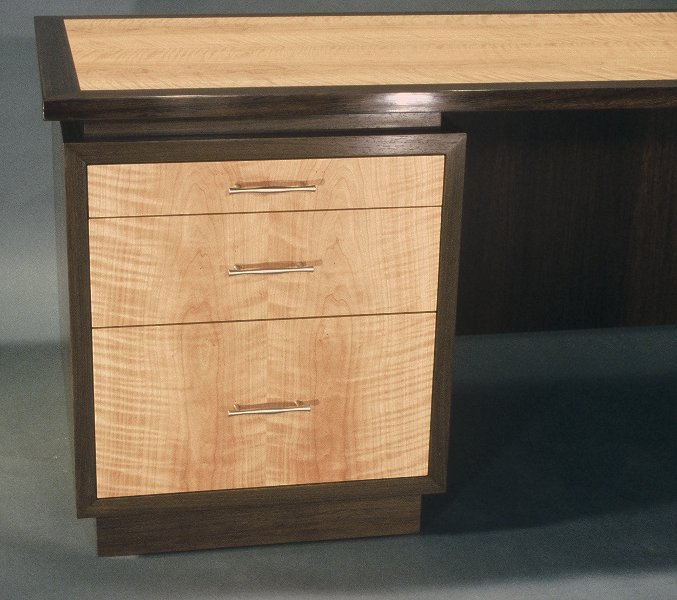 Desk; drawers: wenge and cherry.